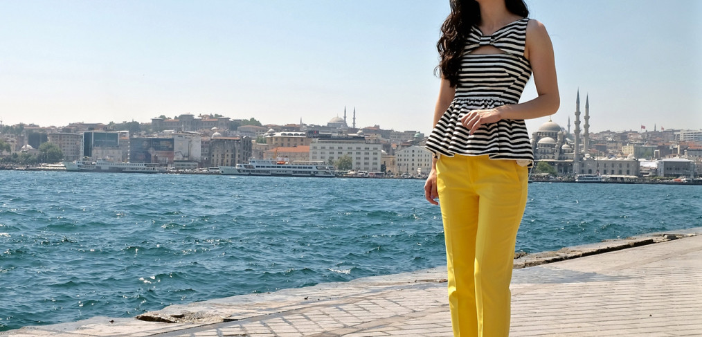 Kate spade striped top, yellow pants, kate spade top, peplum top, kate spade peplum, kate spade bow top, black and white striped top, louboutin heels, pigalle 120 mm, christian louboutin pigalle, black pigalle heels
