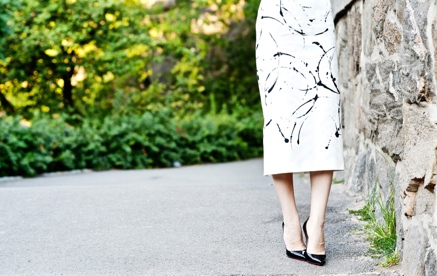 Lafayette skirt, koton blouse, lafayette print skirt, black and white outfit, work outfit, summer work look, summer work outfit, black and white work outfit, louboutin pigalle, pigalle 120 mm, pigalle heels