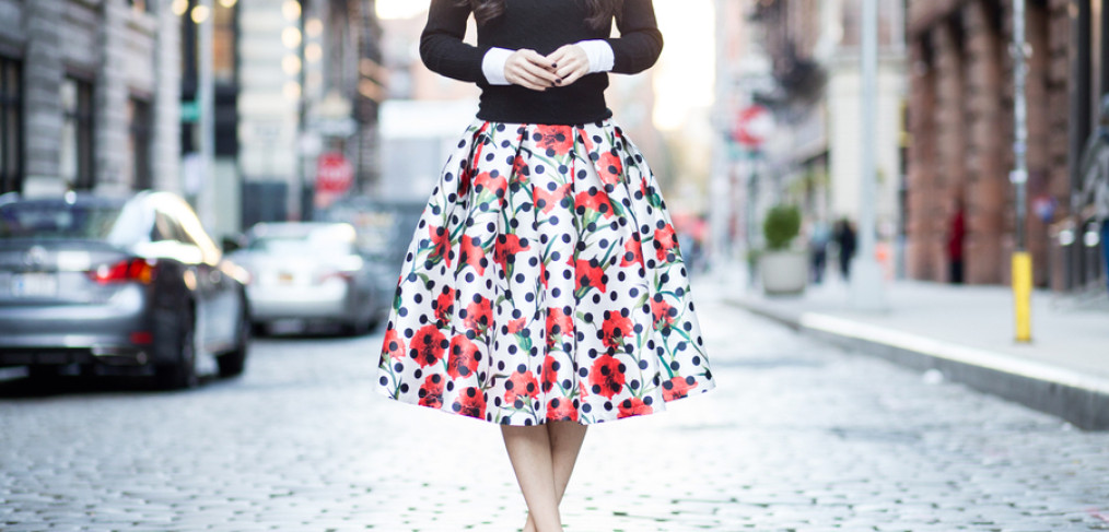 Polka Dot Carnation Pleated Skirt, T+J Designs, t+j designs, t+j designs midi skirt, t+j designs polka dot skirt, t+j designs floral skirt, polka dot pleated skirt, polka dot floral skirt, red floral midi skirt, carnation midi skirt, ann taylor embellished shirt, ann taylor shirt with embellishments, j.crew cashmere sweater, j.crew COLLECTION CASHMERE MINI-CABLE SWEATER, mini cable sweater in black, mini cable cashmere sweater in black, charles david pact pump, charles by charles david pact pump, charles by charles david pact pump in red suede