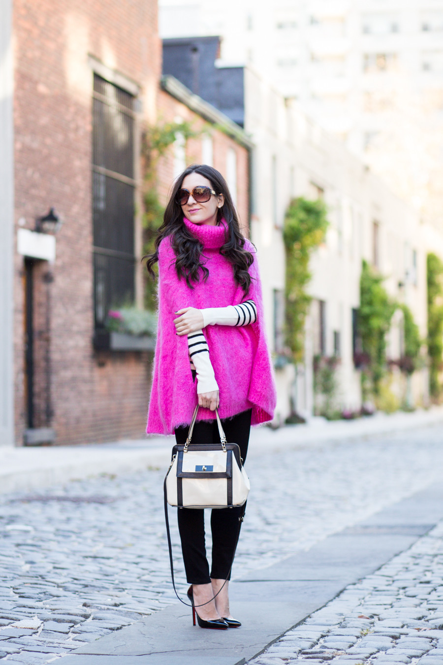 Kate Spade Chunky Knit Sweater Cape, Kate Spade Cape, Pink Cape, Pink Sweater Cape, Bright Pink Sweater Cape, Poncho, Bright Pink Poncho, Christian Louboutin Pigalle 120 mm, Pigalle Black Patent Leather, Pigalle 120 mm, Parker Smith Jean, Parker Smith Jeans Black, Parker Smith Jeans Ava in Eternal Black, J.Crew Factory Striped Button Mockneck Sweater, J.Crew Factory Mockneck Sweater, Factory Striped Turtleneck, Black and White Turtleneck, Black and White Striped Turtleneck