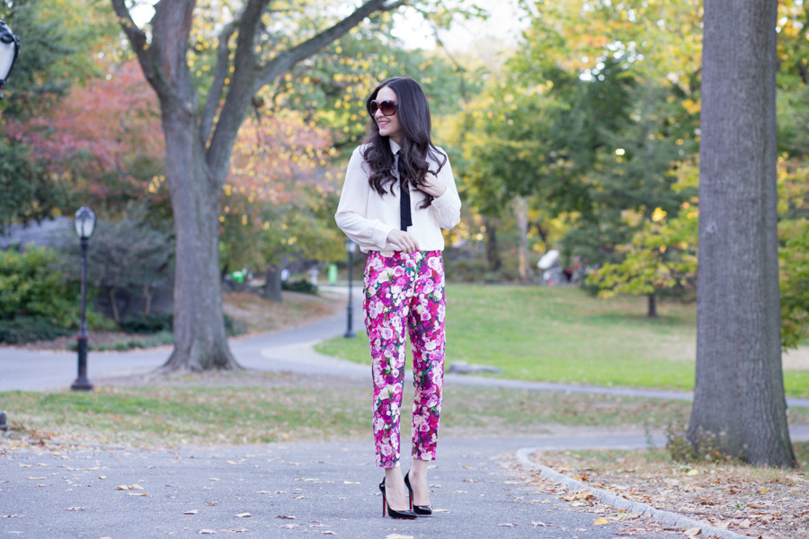 Kate Spade Jackie Capri, Kate Spade Rose Print Jackie Capri, Kate Spade Rose Print Pants, Kate Spade Floral Print Pants, H&M Crepe Blouse, H&M Bow Blouse, H&M Beige Blouse with Bow,  Zara Cape Jacket, Zara Cape in Black, Christian Louboutin 120 mm, Christian Louboutin Pigalle 120 mm, Louboutin Pigalle in Black Patent Leather, Chanel PST, Chanel PST in Black Leather, Zara Short Cape with Faux Leather Detail