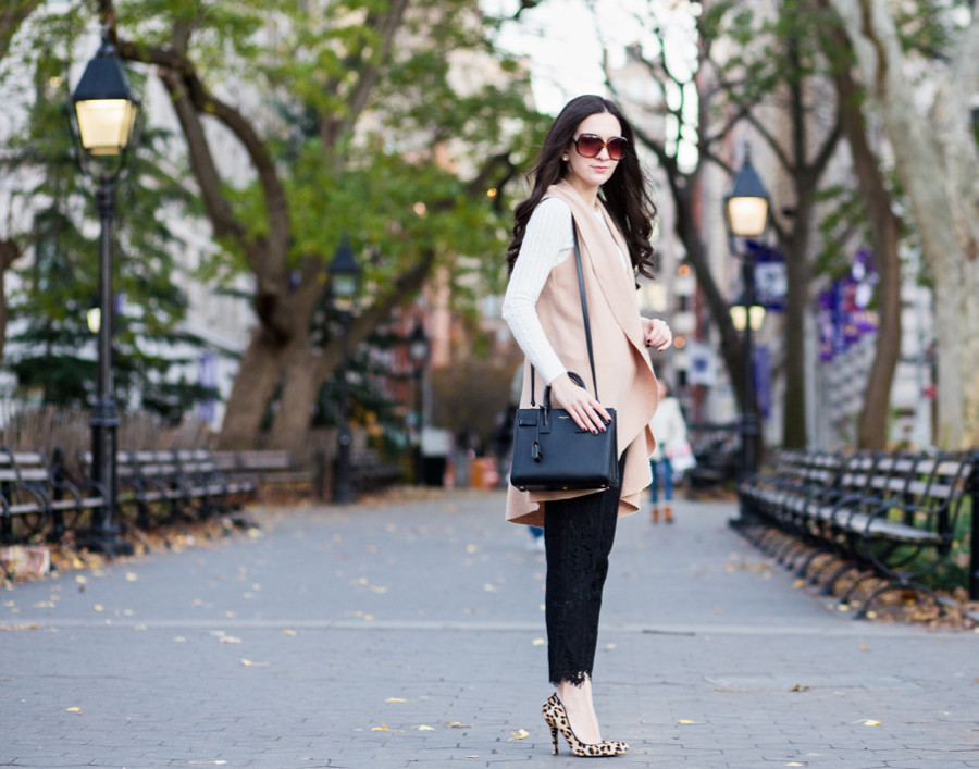 Steve Madden Leopard Print Pumps, J.Crew Cable Crewneck Sweater in Ivory, Anthropologie Museum District Vest in Camel, Anthropologie Vest, J.Crew Pull on Pant in Floral Lace in Black, Saint Laurent Sac De Jour Baby in Black Leather, Bag Borrow or Steal,