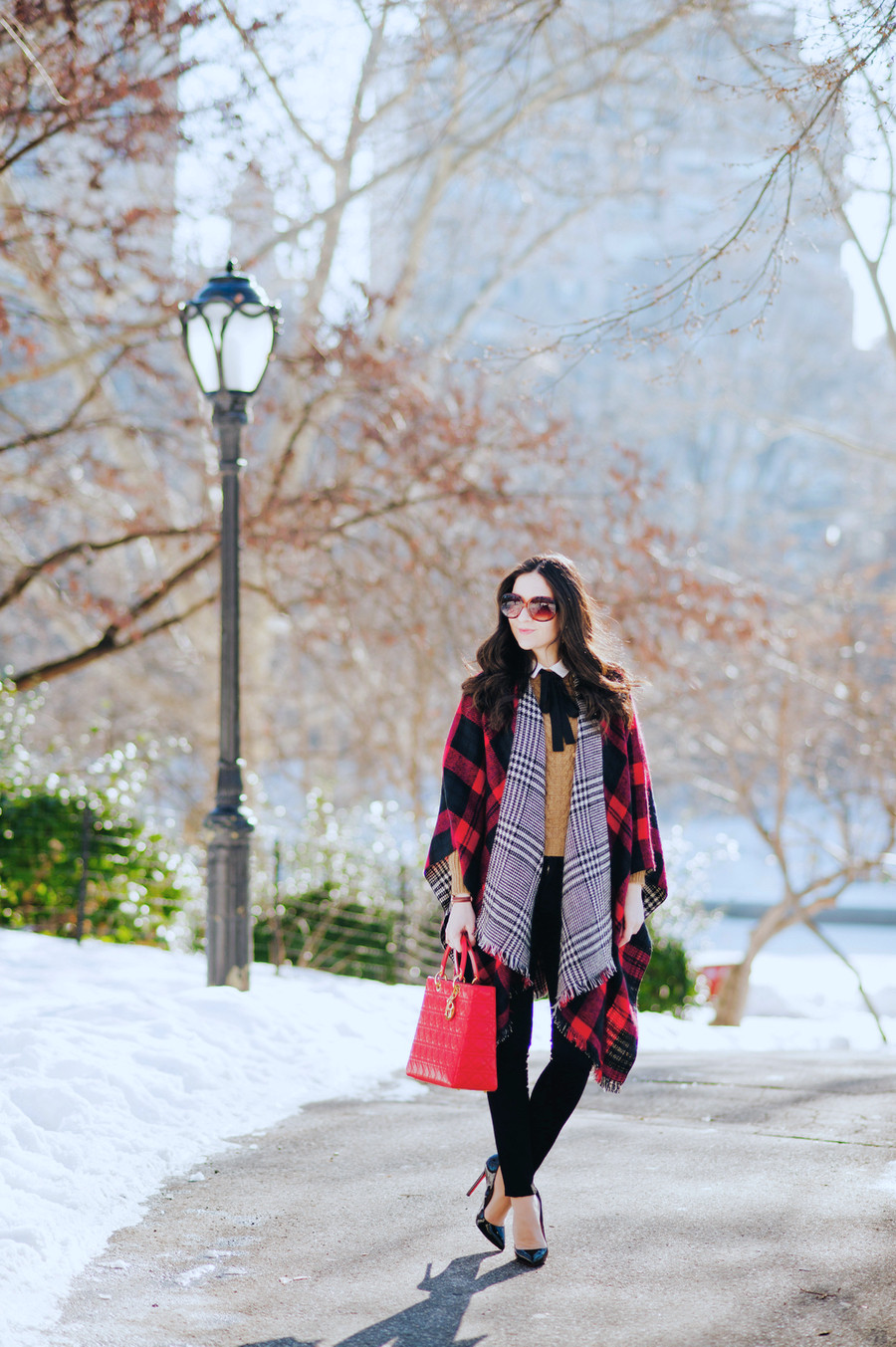 MODENA 'Double Plaid' Reversible Cape, Reversible Cape, Houndstooth Cape, Plaid Cape, Modena Cape, H&M Crepe Blouse, H&M Bow Blouse, Lady Dior Large, Lady Dior Cannage, Lady Dior Red Purse, J.Crew Collection Cashmere Cable Sweater with Pom Poms, Cashmere Sweater in Camel, Camel Sweater with Pom Poms, Parker Smith Jeans Ava Skinny Jean in Eternal Black,  Daniel Wellington St. Mawes 26 mm in  Rose gold