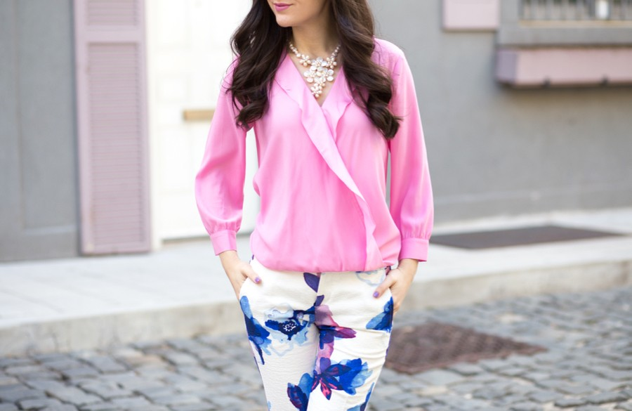 ann taylor pink blouse, ann taylor silk blouse, ann taylor ruffle blouse, banana republic ryan pants, banana republic painted floral pants, banana republic blue purple floral pant, charles by charles david pact pump in royal blue suede, pact pump, charles david heels