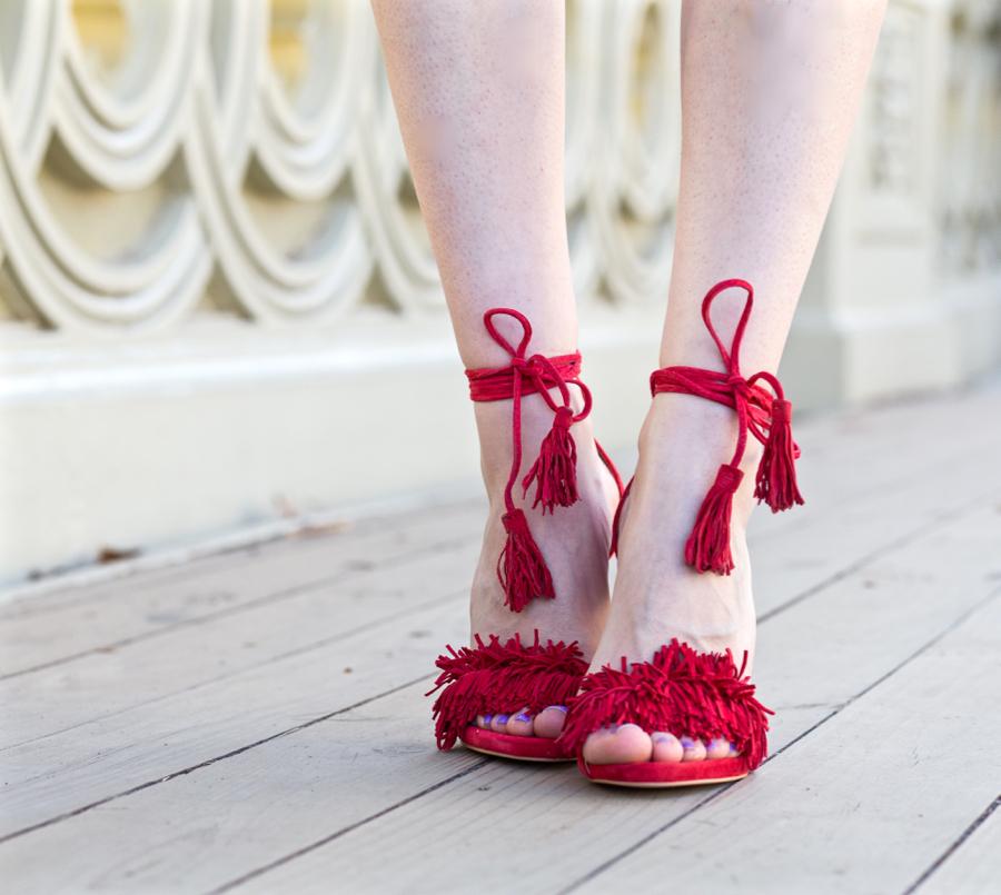 steve madden red fringe heels
