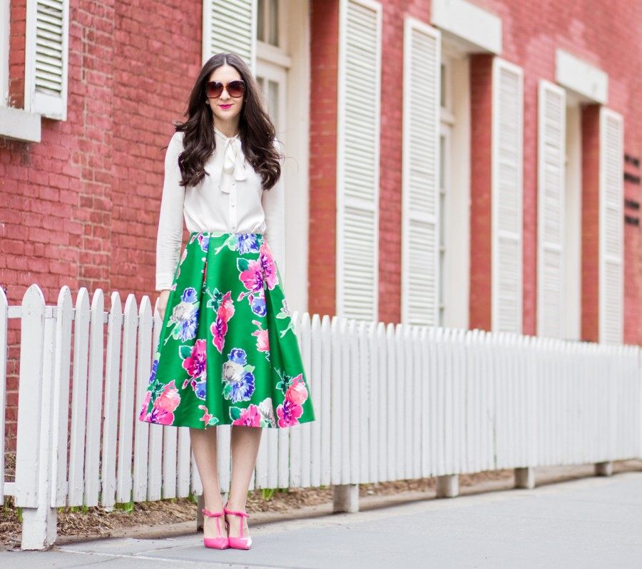 tuxe bodywear the boss, tuxe bodywear blouse, tuxe bodywear bow blouse, white bow blouse, ivory bow blouse, kate spade lorella skirt, kate spade green floral skirt, kate spade midi skirt, kate spade skirt, nordstrom rack, shoedazzle heels, pink patent leather shoedazzle shoes
