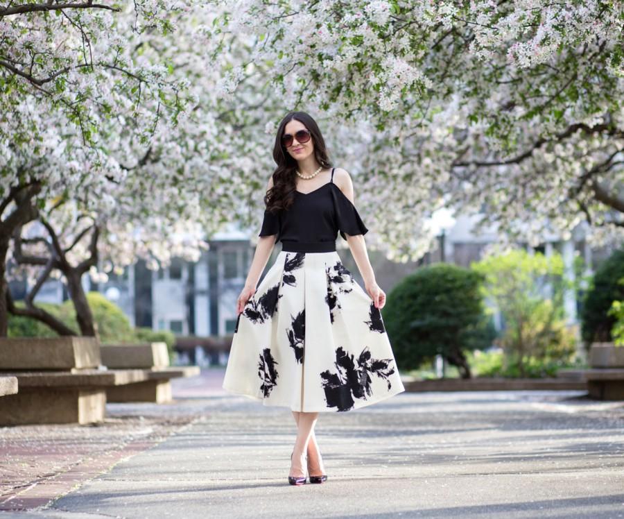 7a43c5b42c122 Floral Print Full Skirt. Top  Asos Cropped Cold Shoulder Cami Top in Black     Skirt  c o White House Black Market ...