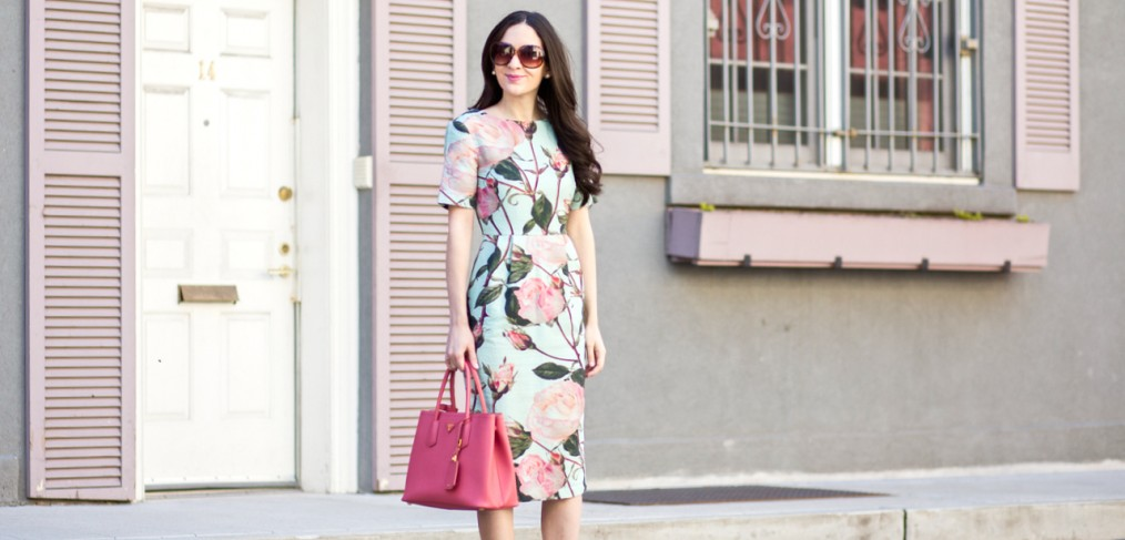 asos Wiggle Dress in Textured Large Floral Print, asos wiggle dress, asos midi dress, asos pencil skirt, asos midi skirt, asos rose print dress, asos textured rose, prada saffiano, prada saffiano tote in pink, prada saffiano lux tote in medium, prada saffiano lux tote in rose, christian louboutin pigalle 100 mm in nude patent, louboutin pigalle heels, trendlee, PRADA Cuir Double Tote Saffiano Leather Medium