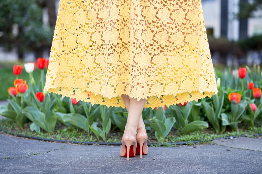 861ebaf6b054 H&M lace dress, H&M yellow lace dress, H&M dress, H&M maxi dress,