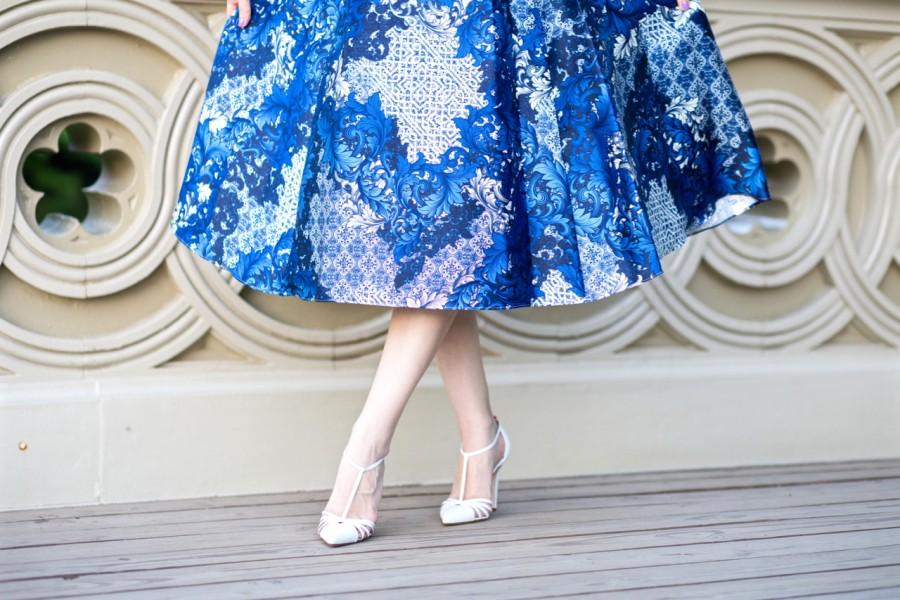 Adrianna Papell Printed Midi Length Dress, adrianna papell mikado dress, adrianna papell arcadia print dress, adrianna papell midi dress, cocktail dress, adrianna papell midi cocktail dress, sjp heels, sjp t strap heels, sjp white heels, sjp carrie heels, sjp carrie pump