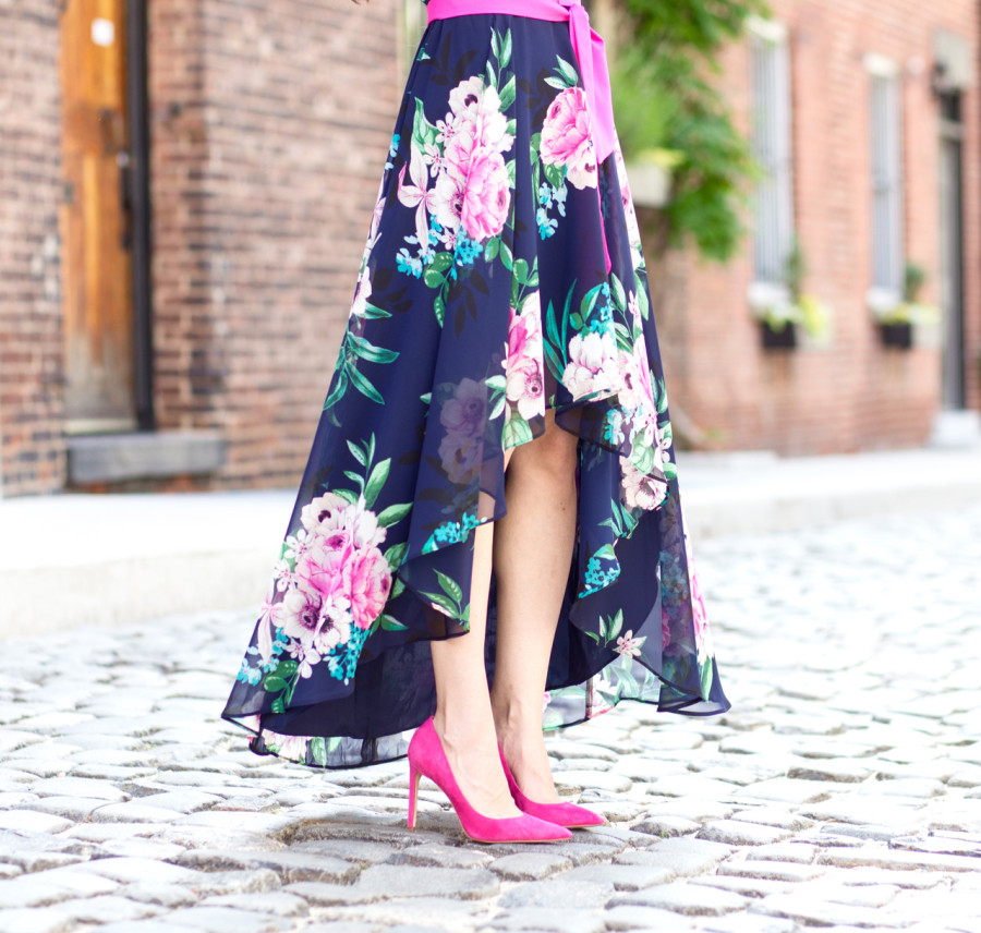 Eliza J Floral Print Chiffon High Low Dress, Eliza J High Low Dress, Eliza J Floral Print Dress, Eliza J Navy Pink Floral Dress, Eliza J Floral Dress with Sash,
