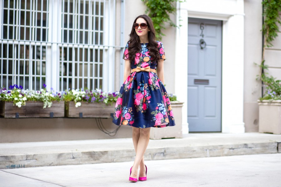 chi chi london, chi chi london cocktail dress, chi chi london floral dress, chi chi london amber dress, chi chi clothing, chi chi london navy floral dress, sam edelman, sam edelman dea pump, sam edelman dea pump in pink suede, lord and taylor, asos Chi Chi London Midi Prom Dress with Full Skirt and Sleeve, anthropologie, anthropologie bow belt
