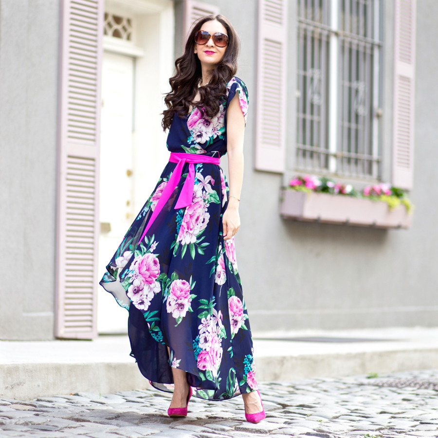 Eliza J Floral Print Chiffon High Low Dress, Eliza J High Low Dress, Eliza J Floral Print Dress, Eliza J Navy Pink Floral Dress, Eliza J Floral Dress with Sash,  sam edelman high heels, sam edelman suede high heels, sam edelman dea pump, sam edelman pink suede pump