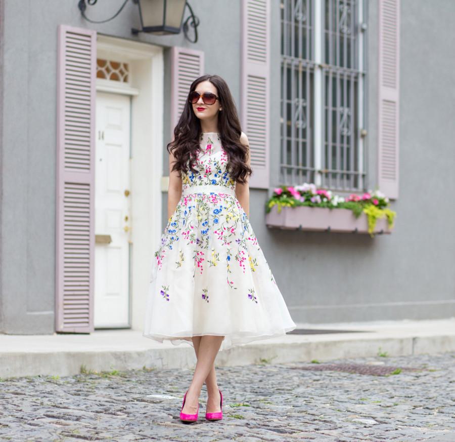 teri jon, teri jon cocktail dress, teri jon party dress, teri jon lace dress, teri jon floral embroidery dress, teri jon floral embroidered dress, teri jon white tulle dress, sam edelman pink heels, sam edelman pink suede heels