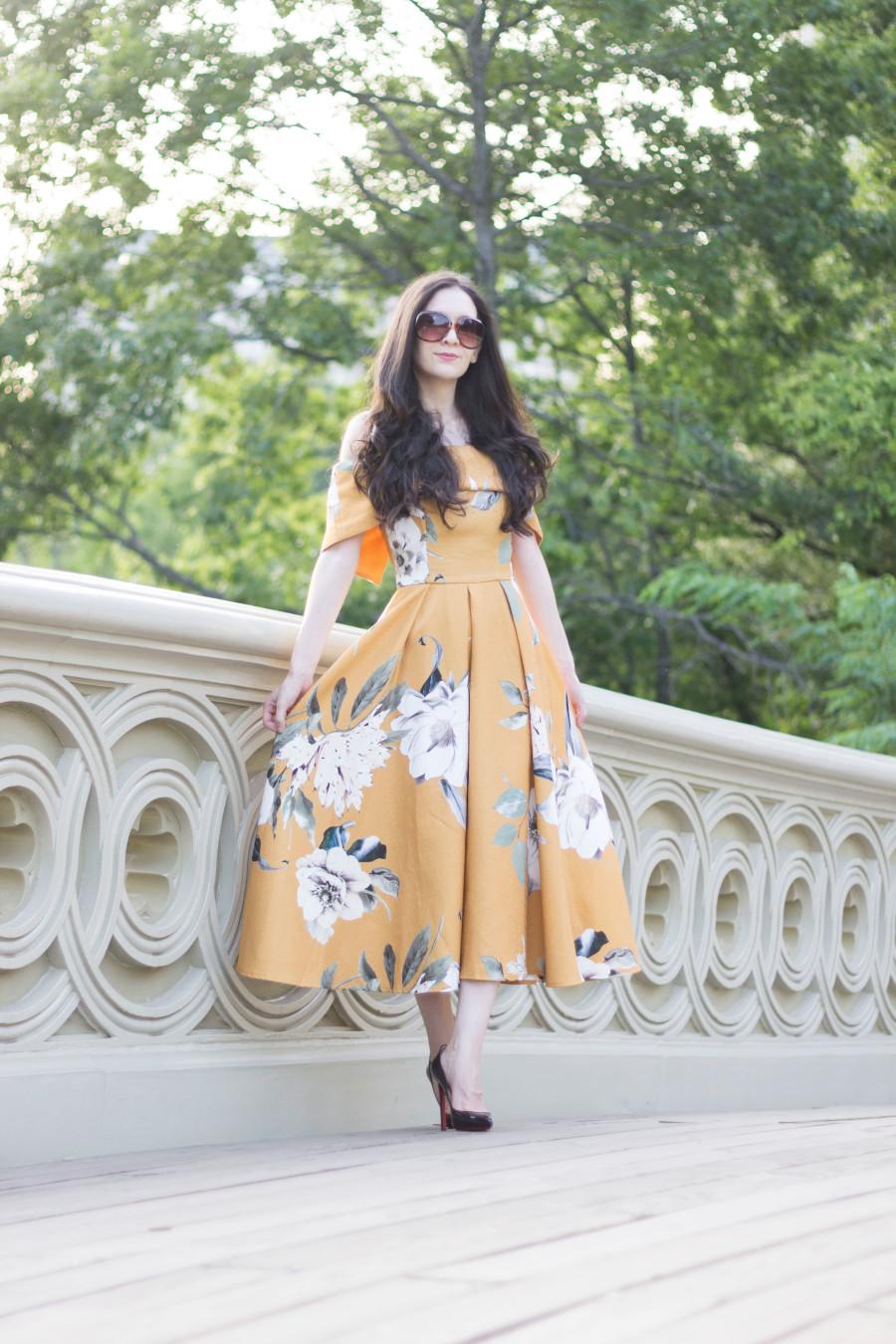 Bardot Dress In Mustard Floral Dressed Up Deniz