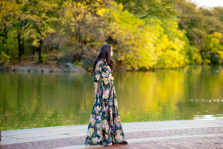 garden grown maxi dress, yumi kim maxi dress, anthropologie yumi kim dress, anthropologie maxi dress, christian louboutin pigalle 100 mm in nude patent leather, central park, foliage, bethesda