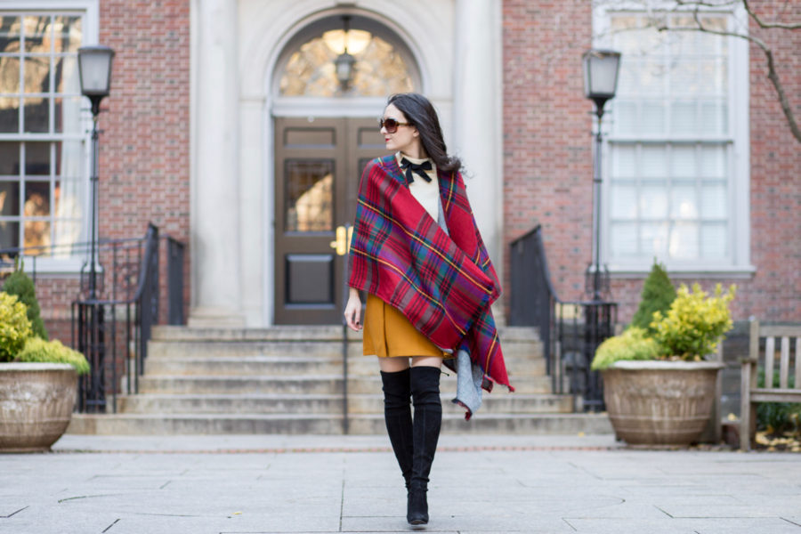 nordstrom modena, modena reversible cape, plaid cape, houndstooth cape, j.crew sailor skirt, j.crew mustard skirt, stuart weitzman suede boots, stuart weitzman highland black suede boots, j.crew gayle sweater, j.crew black bow sweater, black and white bow sweater