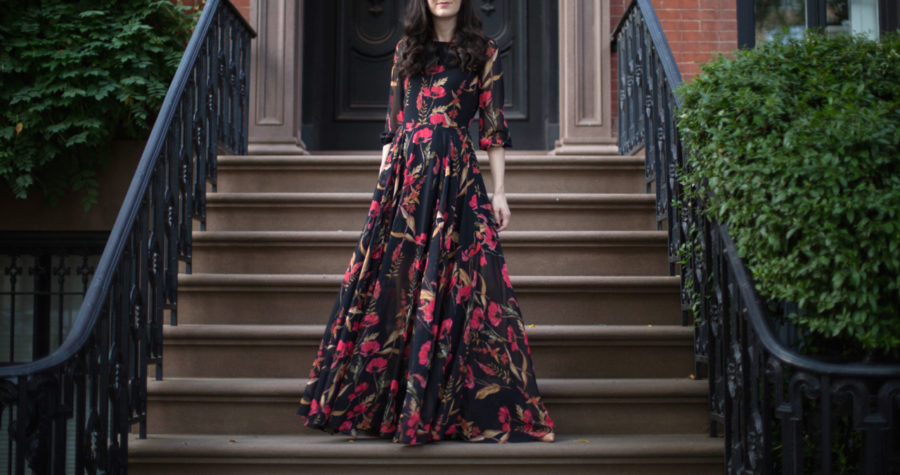 yumi kim, shopbop, yumi kim woodstock dress, yumi kim floral maxi, yumi kim woodstock floral dress, yumi kim black maxi with red flowers, christian louboutin pigalle 100 mm in nude patent leather, christian louboutin nude heels