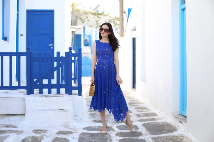 anthropologie blue lace dress, anthropologie plenty by tracy reese cerulean sky dress, anthropologie cerulean sky dress, anthropologie cerulean blue dress, anthropologie scallop flats, anthropologie scallop lace up flats, anthropologie guilhermina scallop flats, mykonos, mykonos greece, mykonos town