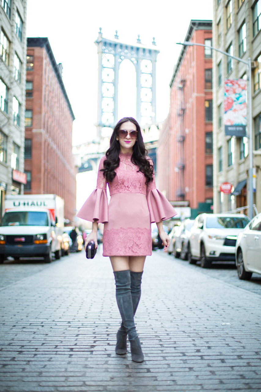 asos lace fluted sleeve skater mini dress, asos mini dress, asos pink mini dress, stuart weitzman highland in london, stuart weitzman highland grey boots, chi chi london black clutch