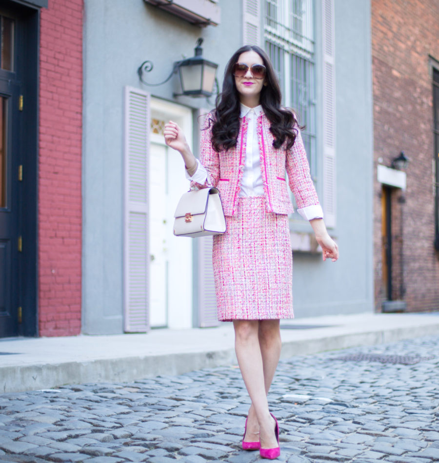 77a391955 Suit  Tahari ASLBoucle Suit    Shirt  ASOS Scalloped Shirt    Heels  Sam  Edelman Pink Suede Heels (Last seen here)    Purse  Henri Bendel Waldorf  Tote in ...