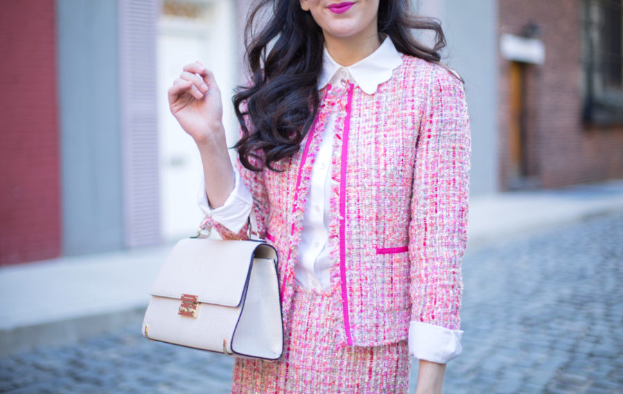tahari asl boucle suit, tahari asl boucle blazer, tahari asl boucle skirt, tahari asl pink boucle suit, henri bendel waldorf in ivory, sam edelman hot pink pumps, asos scallop shirt