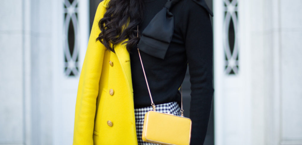 zara gingham pant, zara black gingham pant, zara black check pant, j.crew majesty coat in yellow, henri bendel yellow clutch, ted baker nehru sweater, christian louboutin pigalle 120 mm in black patent leather