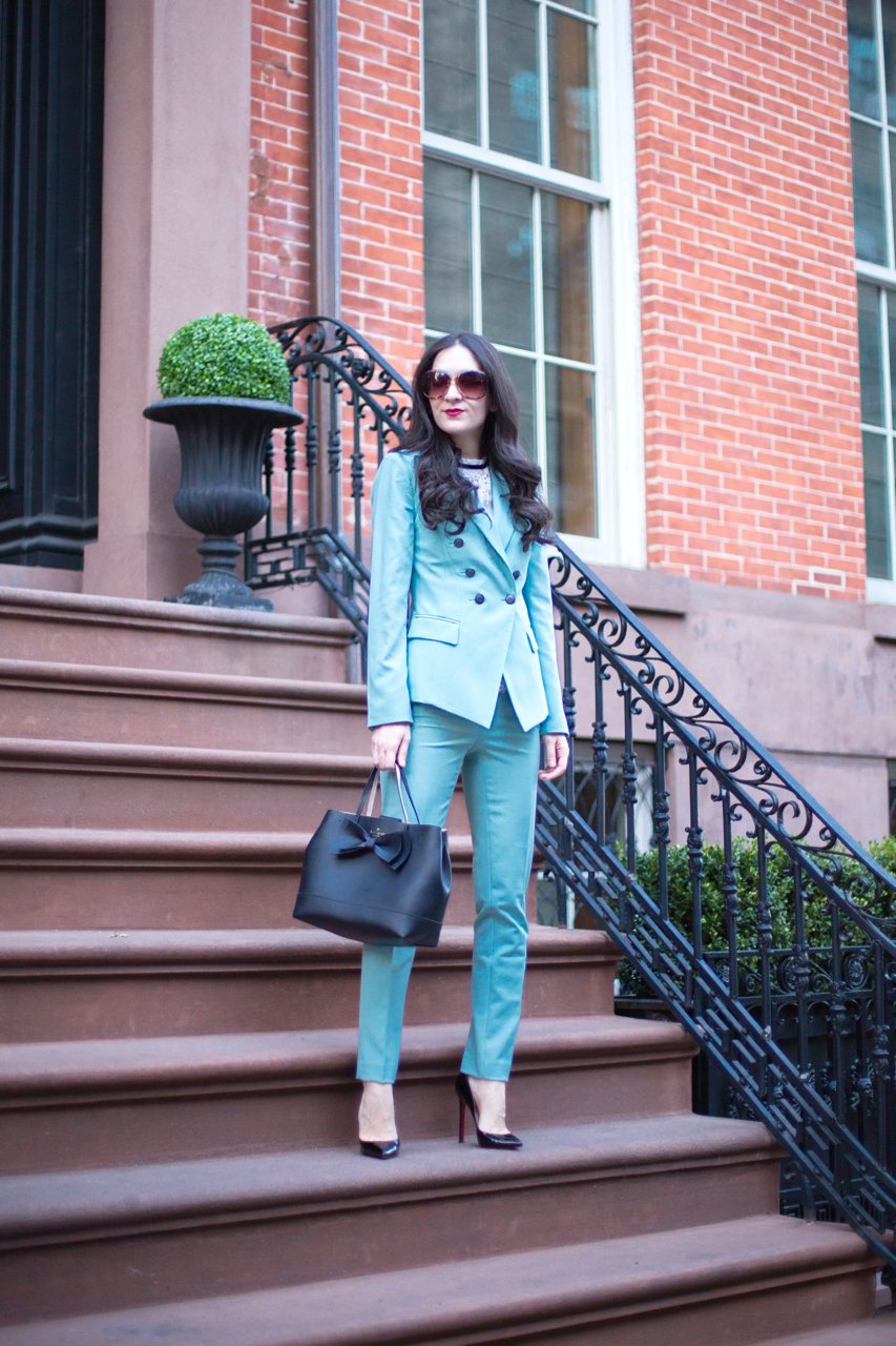 6528a662ac9e Blazer  White House Black Market Trophy Jacket in Mint Green    Pants  White  House Black Market Comfort Stretch Slim Ankle Pant in Mint Green    Blouse   ...