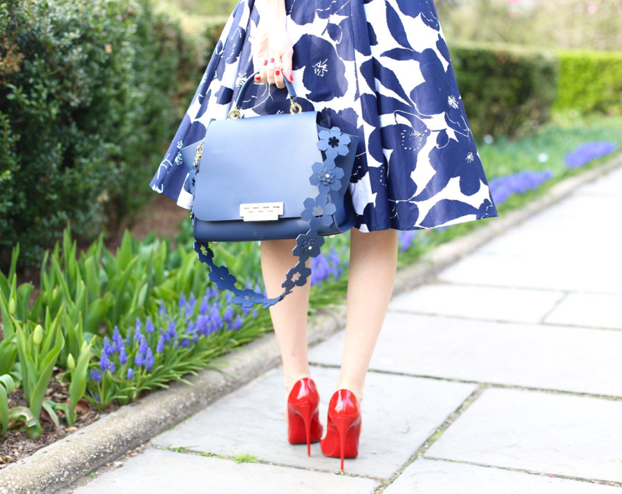 Unique Vintage 1950s White & Navy Floral Bow Sleeve Selma Swing Dress, unique vintage swing dress, zac zac posen, ZAC Zac Posen Eartha Iconic Soft Top Leather Satchel, zac posen eartha iconoic purse, christian louboutin so kate in rouge de mars, central park conservatory garden