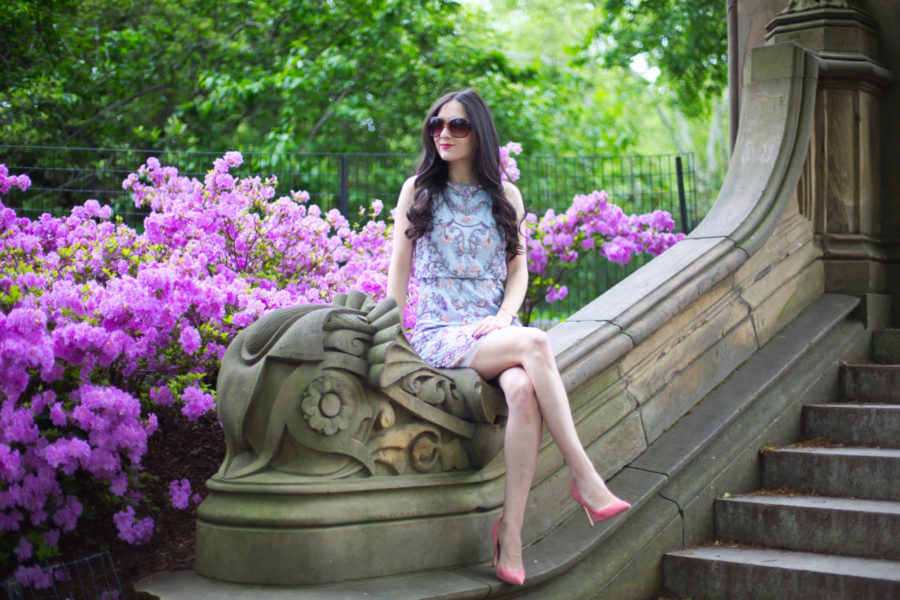 adrianna papell sleeveless floral beaded blouson cocktail dress, adrianna papell beaded cocktail dress, adrianna papell lavender dress, adrianna papell cocktail dress, charles david pink heels, charles david heels, central park, bethesda fountain, cult gaia ark purse, Gaia's Ark