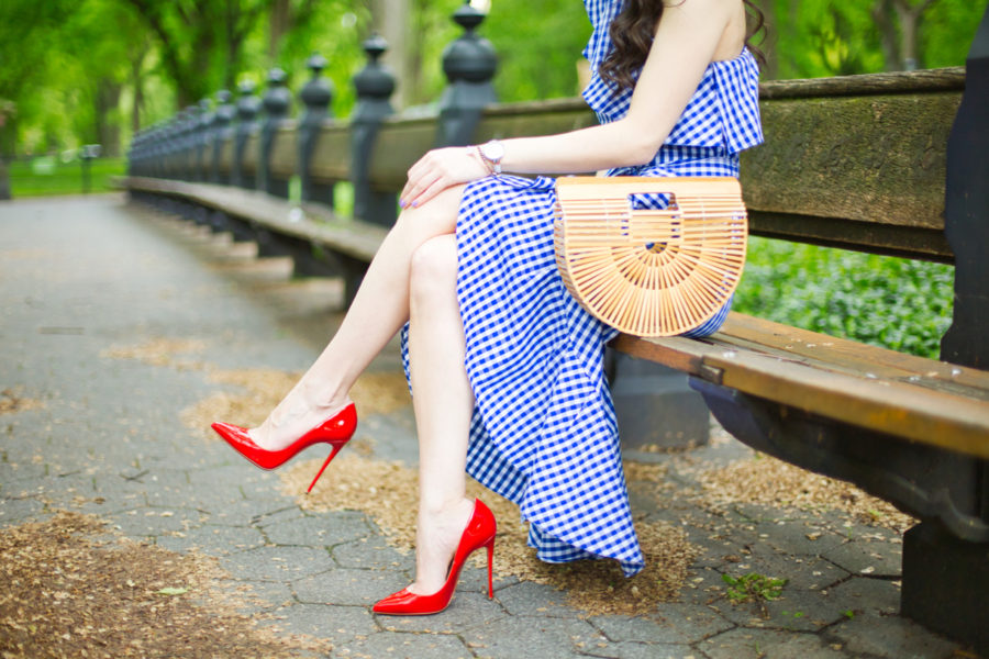 adrianna papell one shoulder gingham flounce dress with self-tie waist, adrianna papell gingham dress, adrianna papell checkered dress, christian louboutin so kate 120 mm rouge de mars, christian louboutin red heels, cult gaia gaia's ark, alfred sung SILHOUETTE LADIES ANALOG WRIST WATCH, alfred sung white watch, canvas style jewelry delicate mop quatrefoil latch bangle