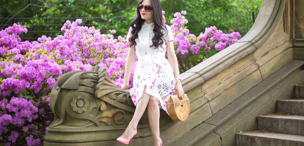 Tahari ASL, Floral Embroidered Shirtdress, cult gaia purse, cult gaia ark, cult gaia small ark, christian louboutin pink heels, christian louboutin rose pigalle follies, central park