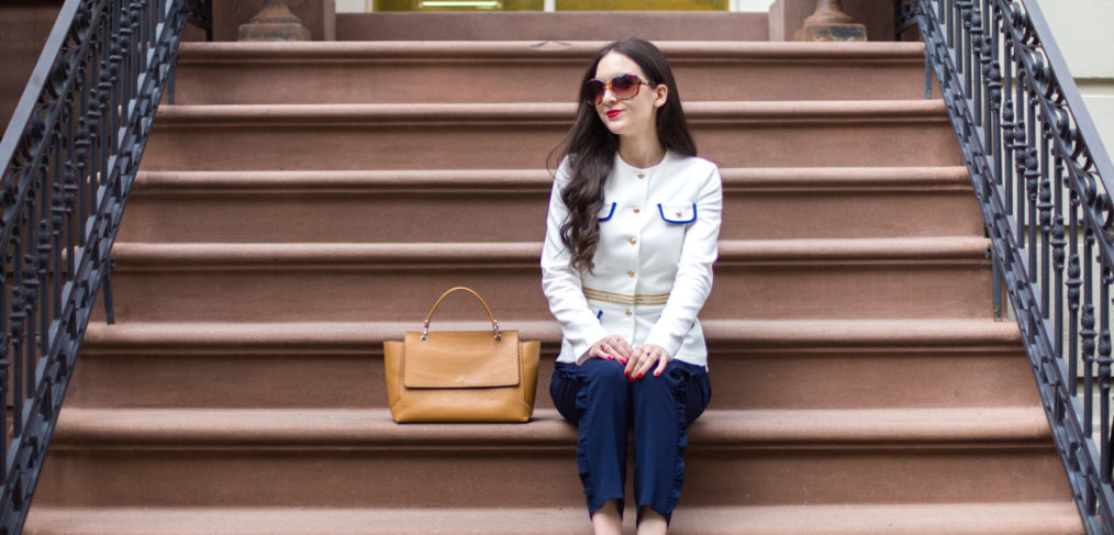 madderson rose jacket, madderson london, madderson london clara trousers, gilt ava aiden scallop heel, gilt white leather pumps, henri bendel Stanton Studded Satchel in Chipmunk, work wear, white work wear, white navy workwear
