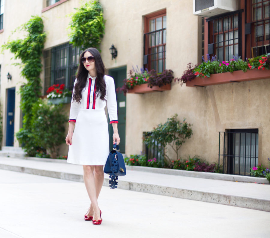 madderson london miranda shift dress in ivory, Zac Zac Posen Eartha Iconic Soft Top Satchel in Navy, salvatore ferragamo varina flats in red patent leather, bloomingdales, zac zac posen navy purse