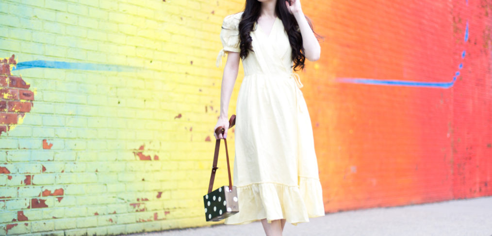 dagny london felicity dress, felicity dress in lemon, dagny london yellow wrap dress, feel wood bags, feel wood bag in polka dot, anthropologie scallop flats, anthropologie scallop lace up flats, guilhermina shoes, guilhermina flats, dumbo, dumbo momo