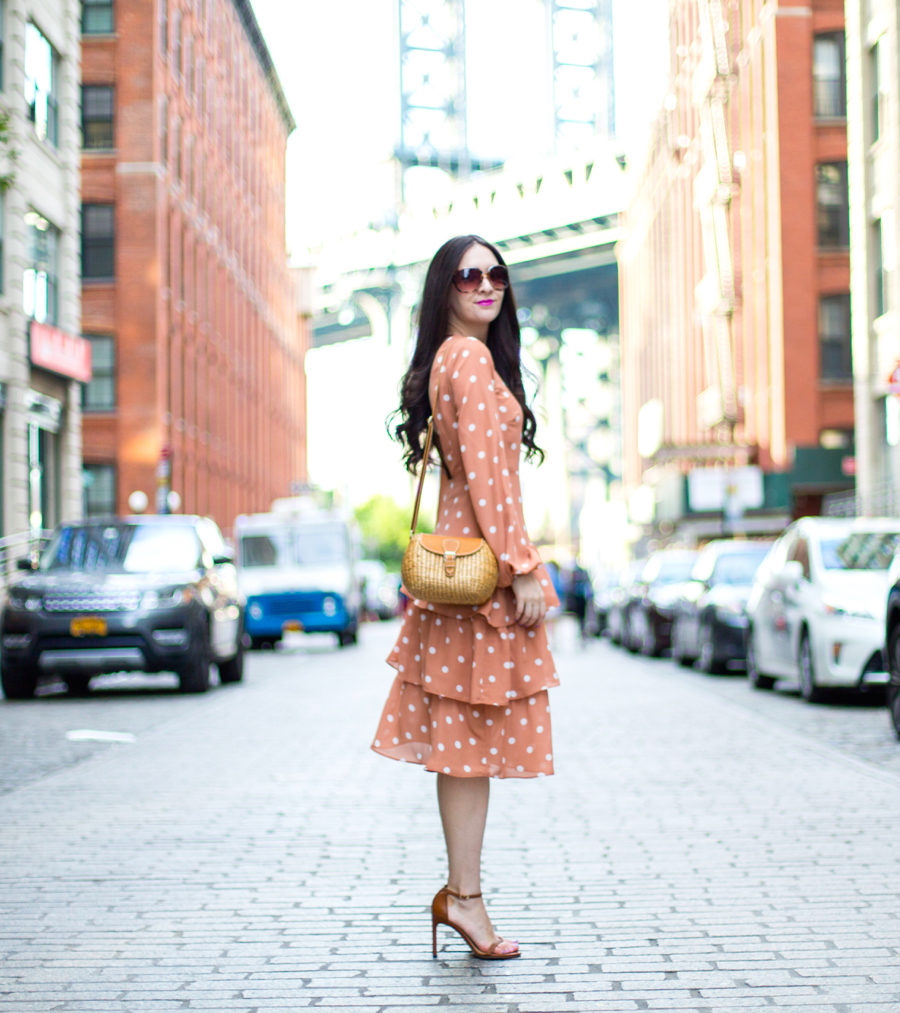 Fashion Union Tall Open Back Midi Dress With Tiered Skirt In Vintage Spot, orange polka dot dress, salmon polka dot dress, polka dot tier dress, sea and grass ava in caramel, sea and grass crossbody, stuart weitzman nudist sandal, stuart weitzman Barebraid Ankle Strap Sandal