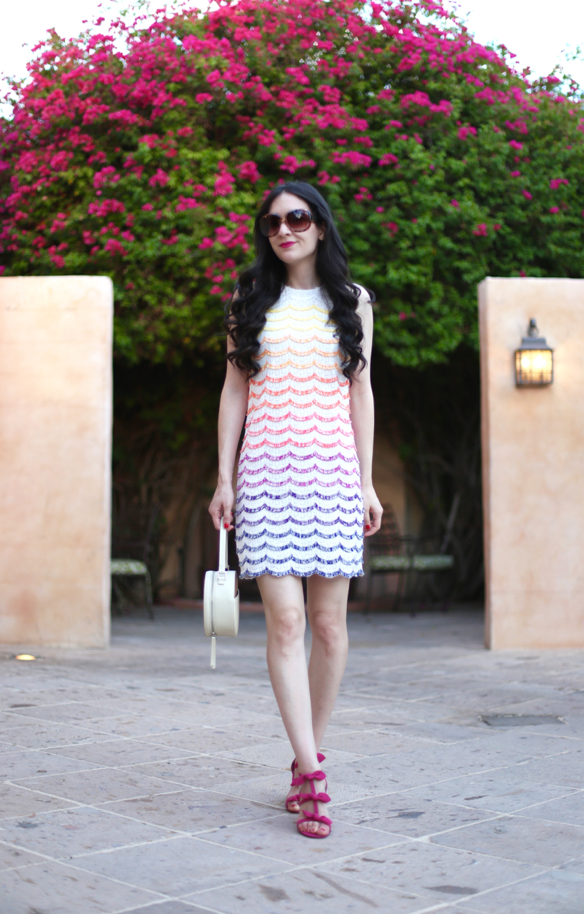 trina turk scallop dress, trina turk colorful dress, trina turk macee dress, anthropologie bow t strap heel, vasic new york, vasic circle handbag, trina turk circle handbag, royal palms spa and resort