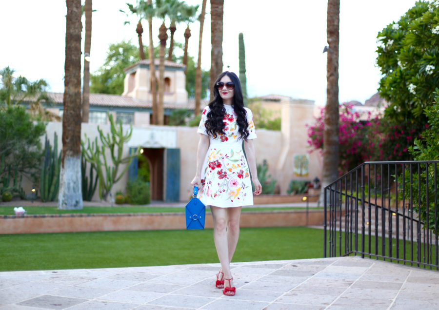 asos DESIGN Premium embroidered mini dress with open back, asos embroidered floral dress, asos floral dress, asos red floral dress, jeff wan le morne lunch box in blue, jeff wan nyc, jeff wan purse, plv shoes, plv sandals, royal palms resort and spa, stay at royal palms, phoenix, plv julie sandal in poppy