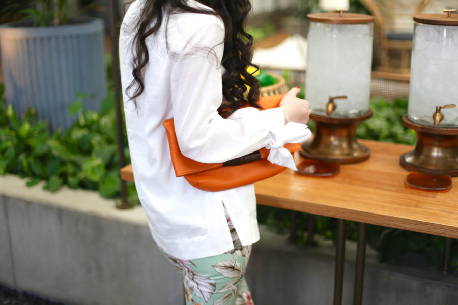 oliveve reid wrap handle tote in orange, zara floral pants, zara mint green floral pants, trina turk tiburon tunic, scott resort, phoenix scott resort, trina turk odette sandal