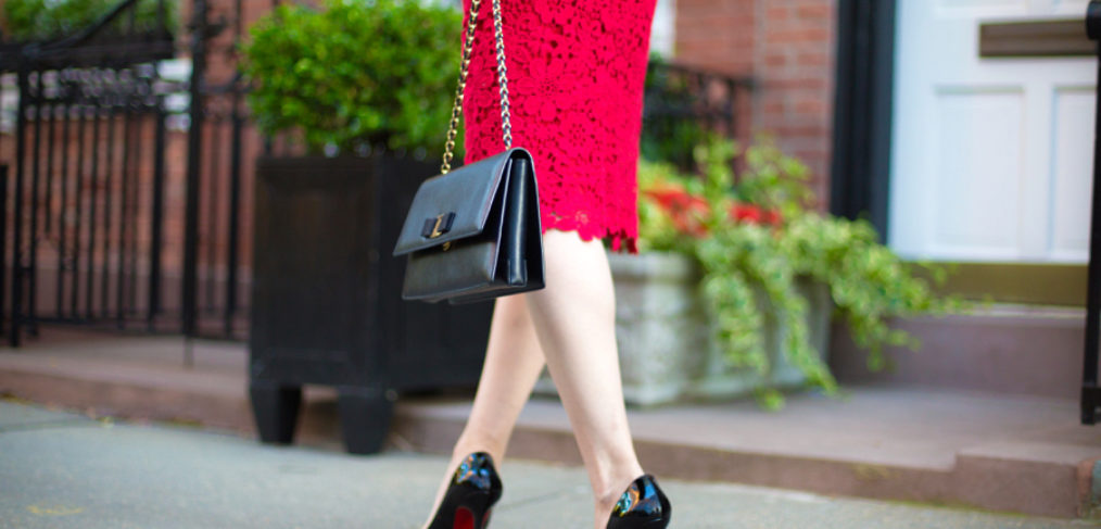 shoshanna guipure lace dress in red, shoshanna guipure lace beaux dress, shoshanna red lace midi dress, anthropologie red lace midi dress, christian louboutin pigalle 120 mm in black patent leather, salvatore ferragamo ginny medium purse in black leather