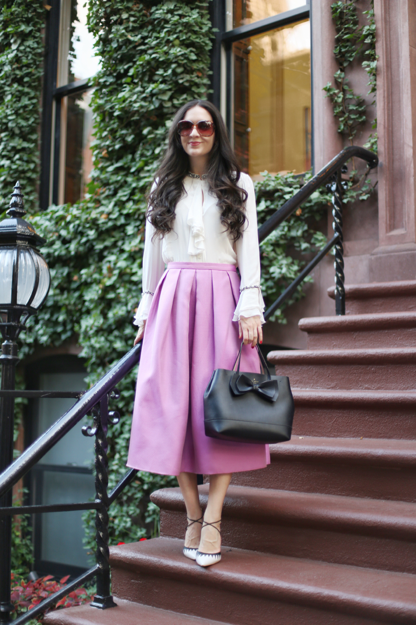 zara pearl blouse, zara black and white blouse, kate spade bow detail purse, tibi faille skirt, tibi full midi skirt in lilac, plv cenya heels in black and white