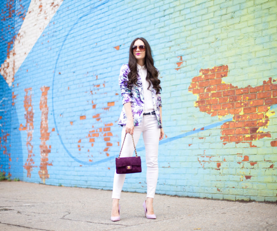 Tahari ASL Floral-Print Ruched-Sleeve Jacket, tahari floral jacket, tahari floral purple blazer, chanel classic purple suede double flap, Vintage Classic Double Flap Bag Quilted Suede Small, ag stevie ankle pant in white, steve madden daisie pump in lilac