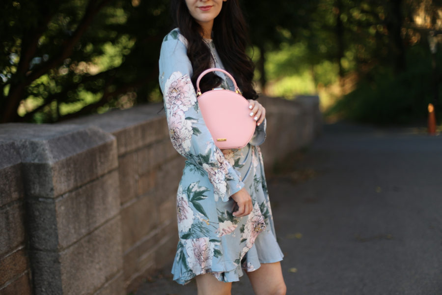 esther and co. dress, esther and co tie dress, esther and co floral dress, aldo circle bag, aldo lace up heels, aldo wedges